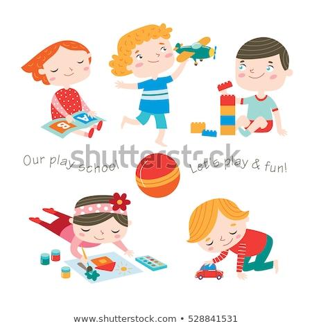детей · детей, · играющих · искусства · счастливым · школы · ребенка - Сток-фото © krisdog