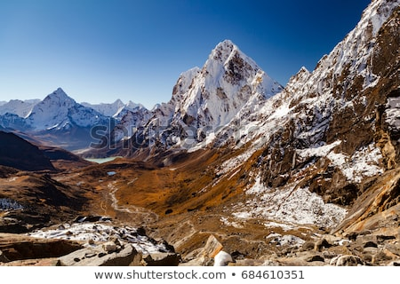 Himalaya Mountain Peaks from Cho La pass, Inspirational Autumn L Stock photo © blasbike