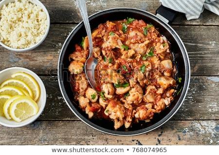 Couscous pollo vegetali alimentare legno carne Foto d'archivio © M-studio