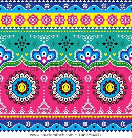 Paquistanês caminhão arte floral sem costura padrão Foto stock © RedKoala