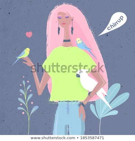 Girl with pet cockatoo Stock photo © IS2