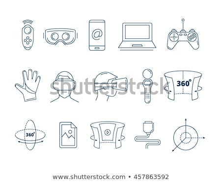 virtual reality icons set vector virtual reality vr accessories weapon gloves console controlle stock photo © pikepicture