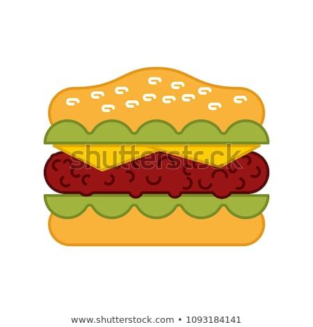 Burger изолированный Cartoon гамбургер белый вектора Сток-фото © MaryValery