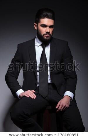 sexy · man · zwarte · smoking · vergadering - stockfoto © feedough