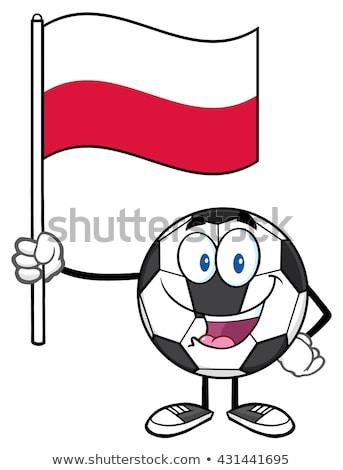 Glucklich Fussball Cartoon Maskottchen Zeichen Halten