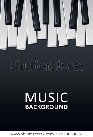 Jazz Music Festival Flyer Design with Piano Keyboard on Dark Background. Vector Party Illustration T Stock photo © articular