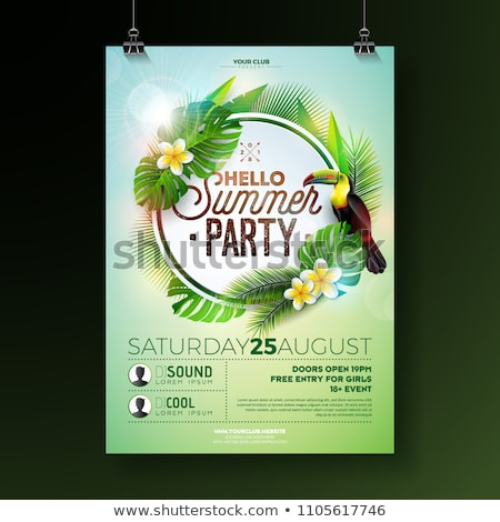 vector summer beach party flyer design with acoustic guitar and toucan on exotic leaf background su stock photo © articular