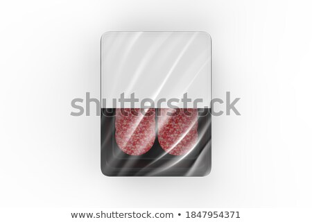 Fresh and declicious sausage, ham, salami, meat appetizers on wood board Stock photo © FreeProd