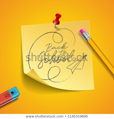 Back to school design with graphite pencil, eraser and sticky notes on yellow background. Vector ill Stock photo © articular