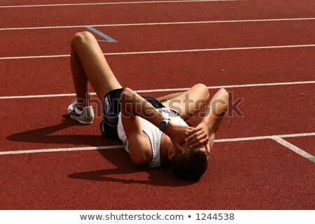 Moe afgewerkt lopen stadion fitness Stockfoto © deandrobot