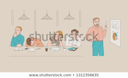Cartoon hoogleraar vervelen illustratie naar student Stockfoto © cthoman