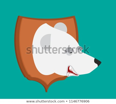polar bear hunter trophy head is northern predator on shield s stock photo © popaukropa