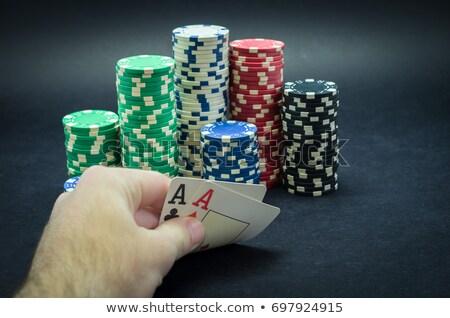 Póquer chips fondo casino negro Foto stock © ordogz