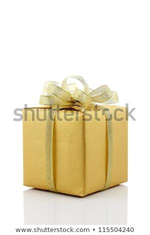 Boîte cadeau rouge papier ruban or Photo stock © Lady-Luck