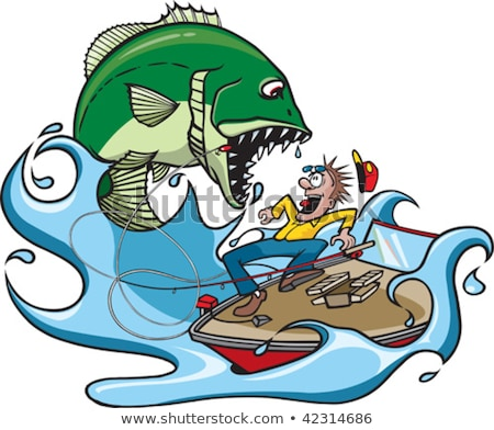 Scared Cartoon Fisherman Stock photo © cthoman