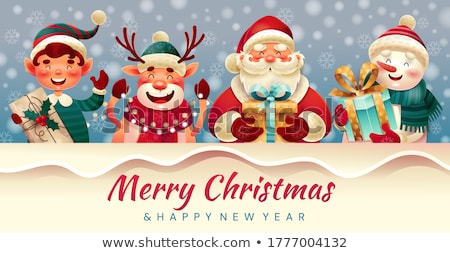 santa claus reindeer and snowman with signboard stock photo © genestro