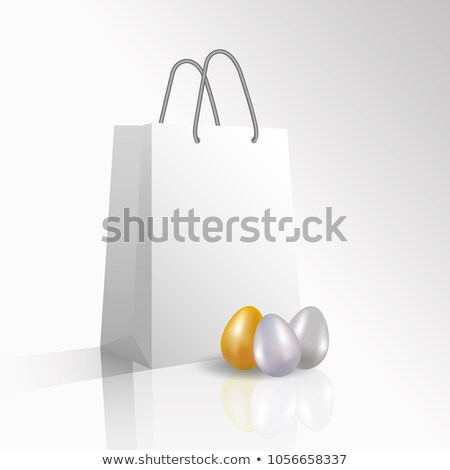 happy easter sale realistic paper shopping bag with handles isolated on white background vector il stock photo © olehsvetiukha