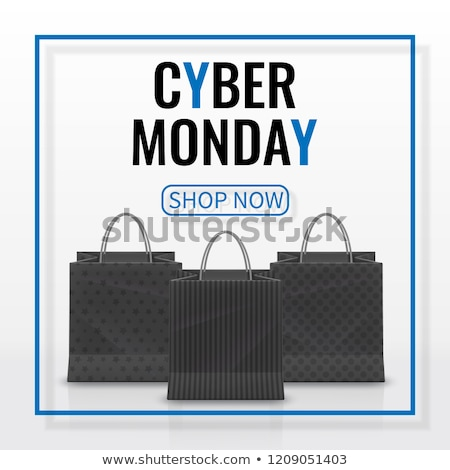 Cyber Monday Sale. Realistic Paper shopping bag with handles isolated on dark background. Vector ill stock photo © olehsvetiukha