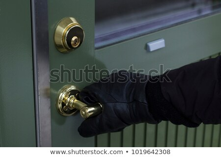 Stok fotoğraf: Close Up Of Burglar Hand Breaking Door