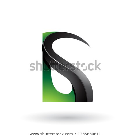 Black and Green Glossy Curvy Embossed Letters A and G Vector Ill Stock photo © cidepix