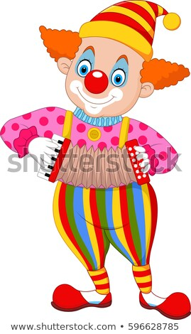 счастливым клоуна играет аккордеон иллюстрация музыку Сток-фото © colematt