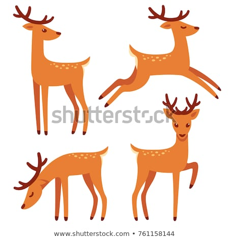 Running deer flat illustration. Christmas reindeer icon Stock photo © IvanDubovik