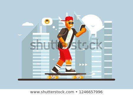 Cartoon guy riding on skateboard outdoor Stock photo © jossdiim