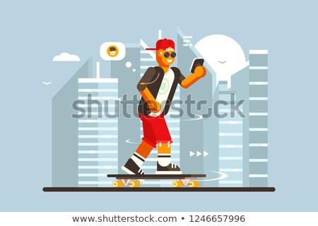 menino · equitação · andar · de · skate · pequeno · diversão · jogar - foto stock © jossdiim