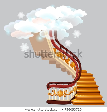 The golden stairs leading into the snow clouds with snowflakes isolated on gray background. Sketch f Stock photo © Lady-Luck