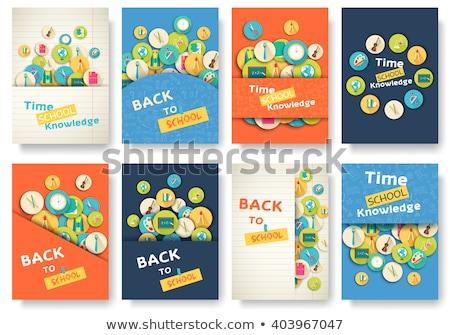 Plecak materiały biurowe powrót do szkoły plakat władcy ołówki Zdjęcia stock © robuart