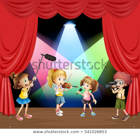 musicale · ragazzi · illustrazione · strumenti · musicali · ragazza - foto d'archivio © colematt