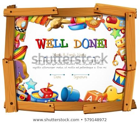 Certificat modèle jouets autour cadre illustration Photo stock © colematt
