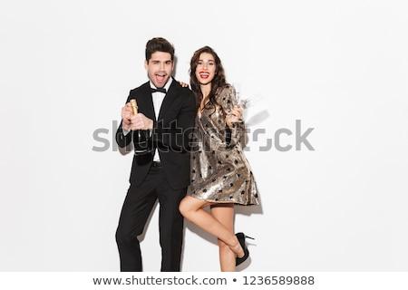 Foto stock: Alegre · jovem · casal · ano · novo · festa