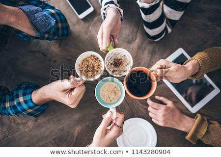 飲料 · コーヒー · 女性 · シルク · 紫色 · レース - ストックフォト © eddows_arunothai