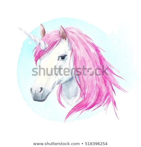 watercolor portrait of a unicorn with a pink mane stock photo © natalia_1947