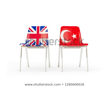Two chairs with flags of UK and turkey isolated on white Stock photo © MikhailMishchenko