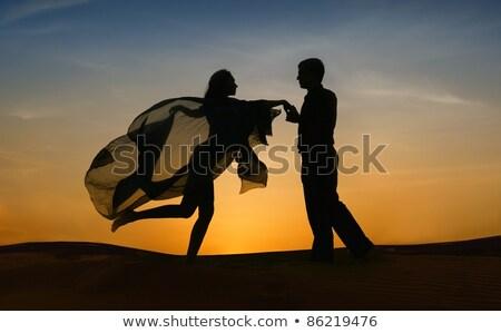 Paar dansen tango zonsondergang illustratie meisje Stockfoto © adrenalina