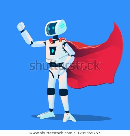 Robot visel szuperhős köpeny vektor izolált Stock fotó © pikepicture