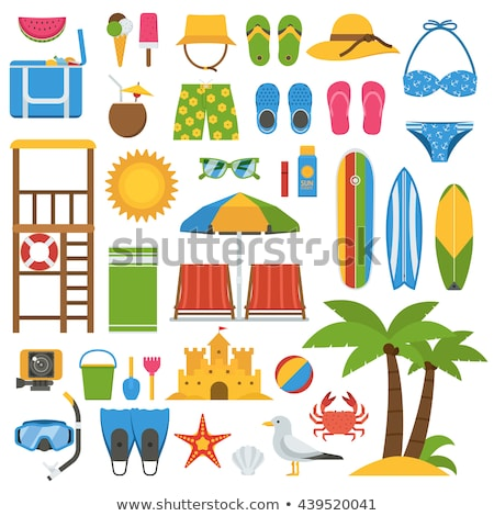 summer tropical items icons vector illustration stock photo © robuart