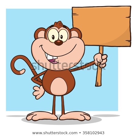 cute monkey cartoon character holding up a blank wood sign stock photo © hittoon