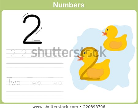 number two tracing alphabet worksheets stock photo © colematt