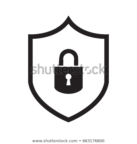 Abstract security vector icon illustration isolated on white background. Shield icon with qr code. L Stock photo © kyryloff