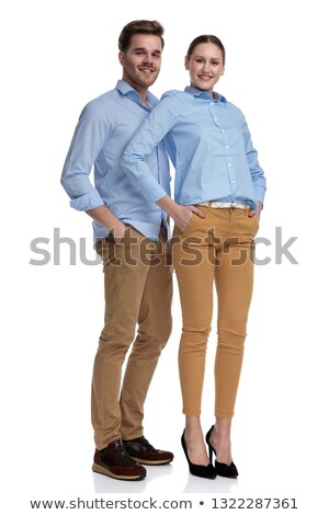 full body picture of a young casual couple looking relaxed  Stock photo © feedough