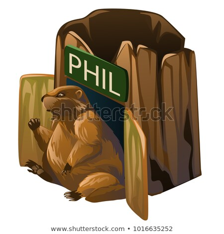 Brown groundhog and his dwelling isolated on white background. Vector cartoon close-up illustration. Stock photo © Lady-Luck