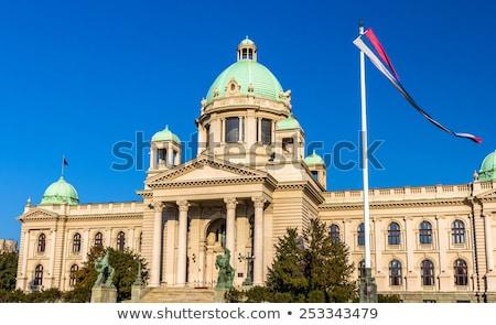 Casa bandeira Sérvia branco casas Foto stock © MikhailMishchenko