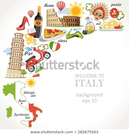set of elements of italian culture welcome to italy vector ill stock photo © arkadivna
