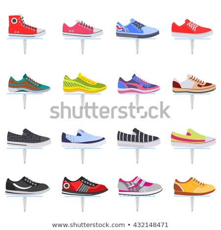 Vector illustration red and blue sports sneakers Stock photo © frescomovie