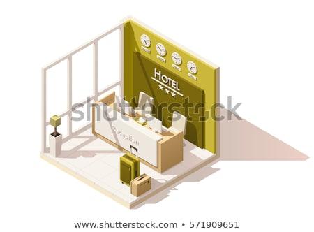 Wektora izometryczny hotel recepcji lobby wnętrza Zdjęcia stock © tele52