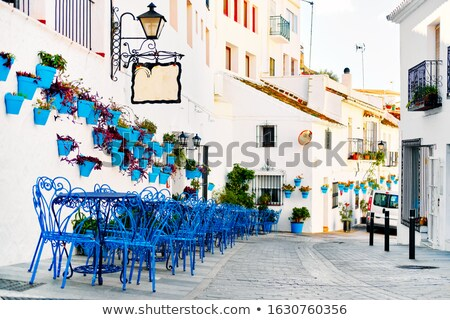 Picturesque street of Mijas with flower pots in facades Stock photo © amok