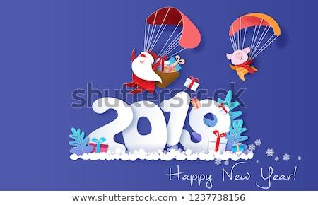 Porco apresentar feliz ano novo floco de neve cartão postal flocos de neve Foto stock © robuart